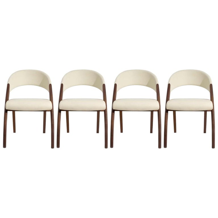 Set Of 4 Country Cream Dining Chairs: Set Of Four Walnut And Cream Leather Dining Chairs By