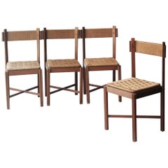 Set of Four Walnut Chairs. France, 1950