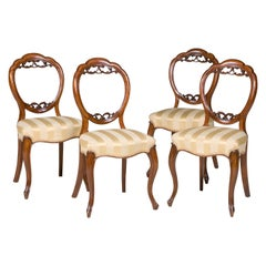 Set of Four Walnut Dining Room Chairs