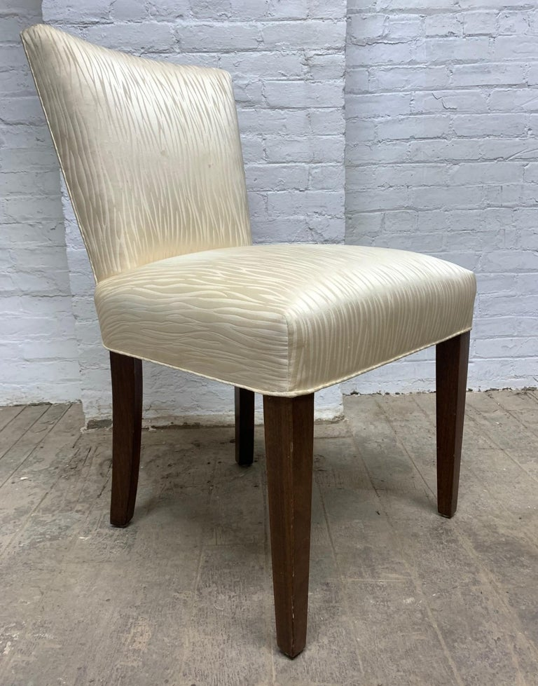 Hollywood Regency Set of Four Walnut Upholstered Dining Chairs For Sale
