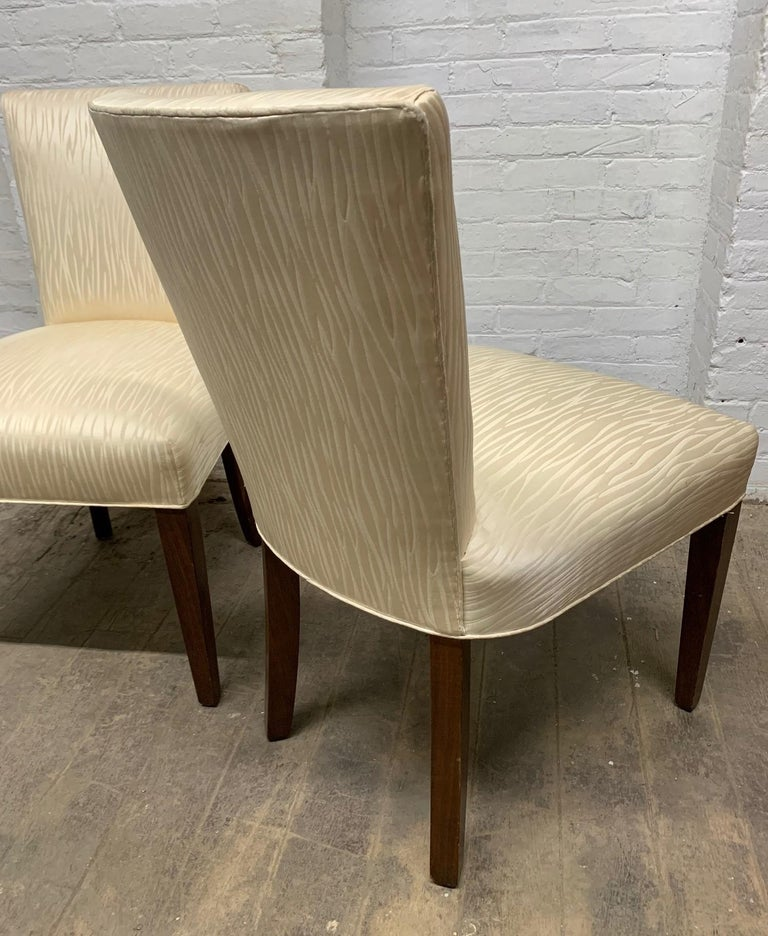 Upholstery Set of Four Walnut Upholstered Dining Chairs For Sale