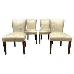 Set of Four Walnut Upholstered Dining Chairs