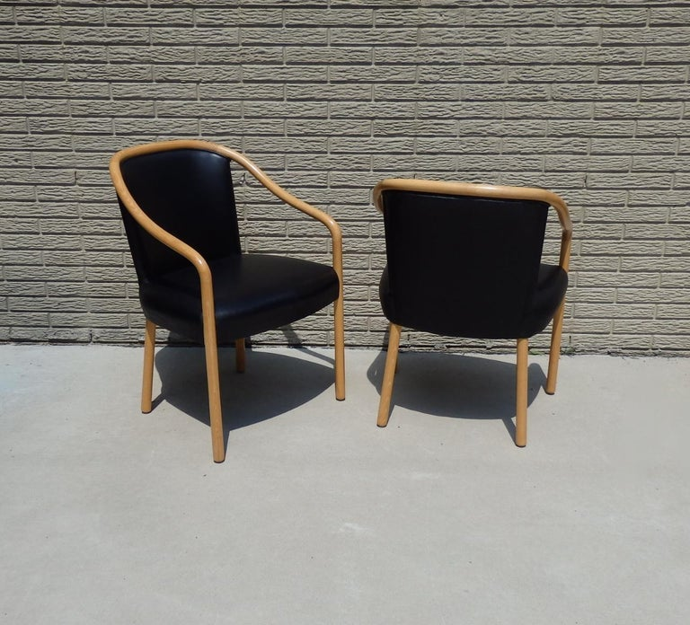 Set of Four Ward Bennet Ash Frame Black Leather Chairs For Sale 4