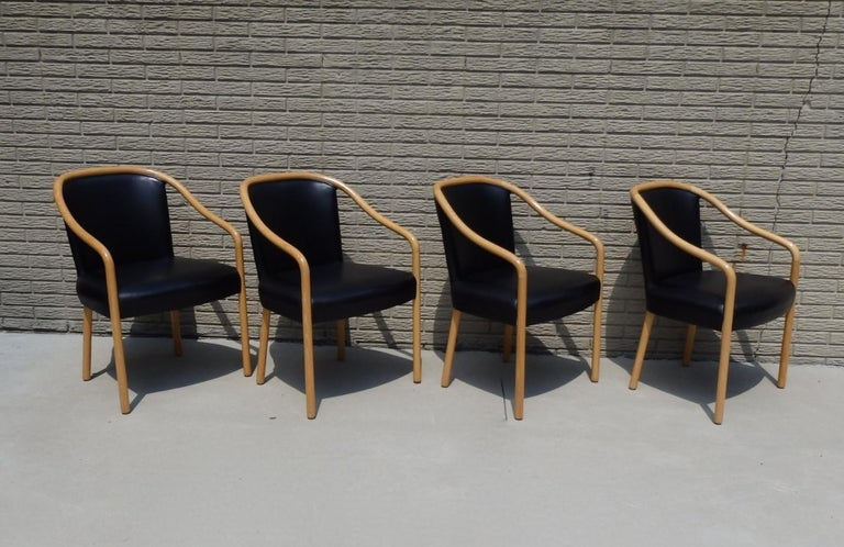 Set of Four Ward Bennet Ash Frame Black Leather Chairs For Sale 5