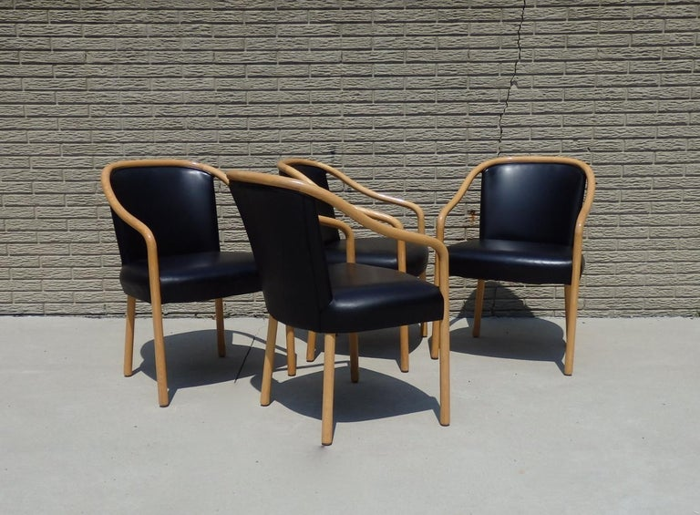 Mid-Century Modern Set of Four Ward Bennet Ash Frame Black Leather Chairs For Sale