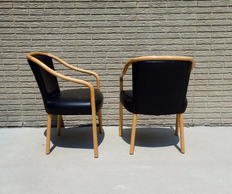 American Set of Four Ward Bennet Ash Frame Black Leather Chairs For Sale