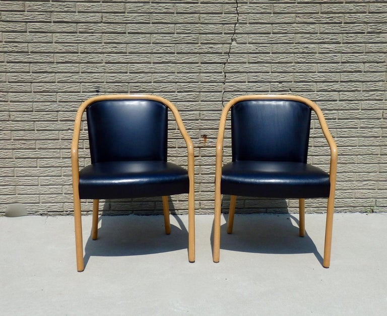 Late 20th Century Set of Four Ward Bennet Ash Frame Black Leather Chairs For Sale