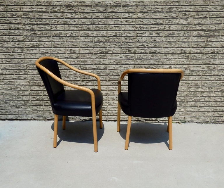 Set of Four Ward Bennet Ash Frame Black Leather Chairs For Sale 2