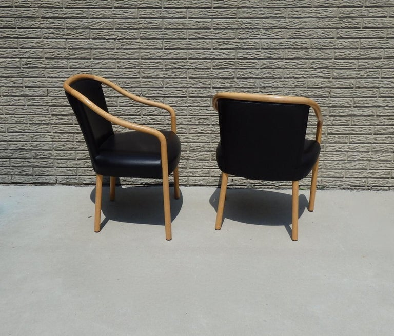 Set of Four Ward Bennet Ash Frame Black Leather Chairs For Sale 3