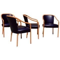 Set of Four Ward Bennet Ash Frame Black Leather Chairs