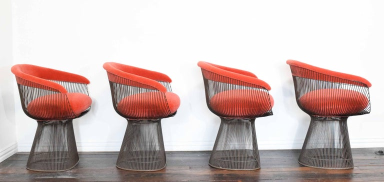 Mid-Century Modern Set of Four Warren Platner Bronze Dining Chairs For Sale