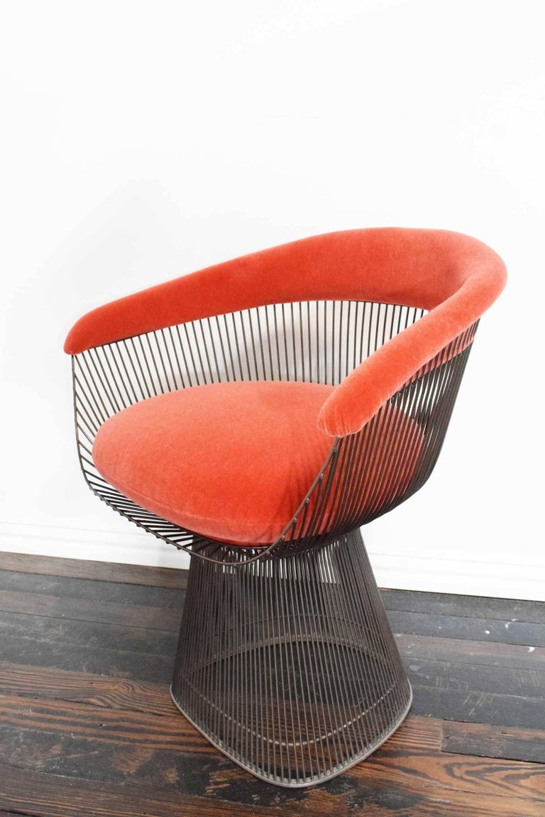 Set of Four Warren Platner Bronze Dining Chairs In Excellent Condition For Sale In Dallas, TX