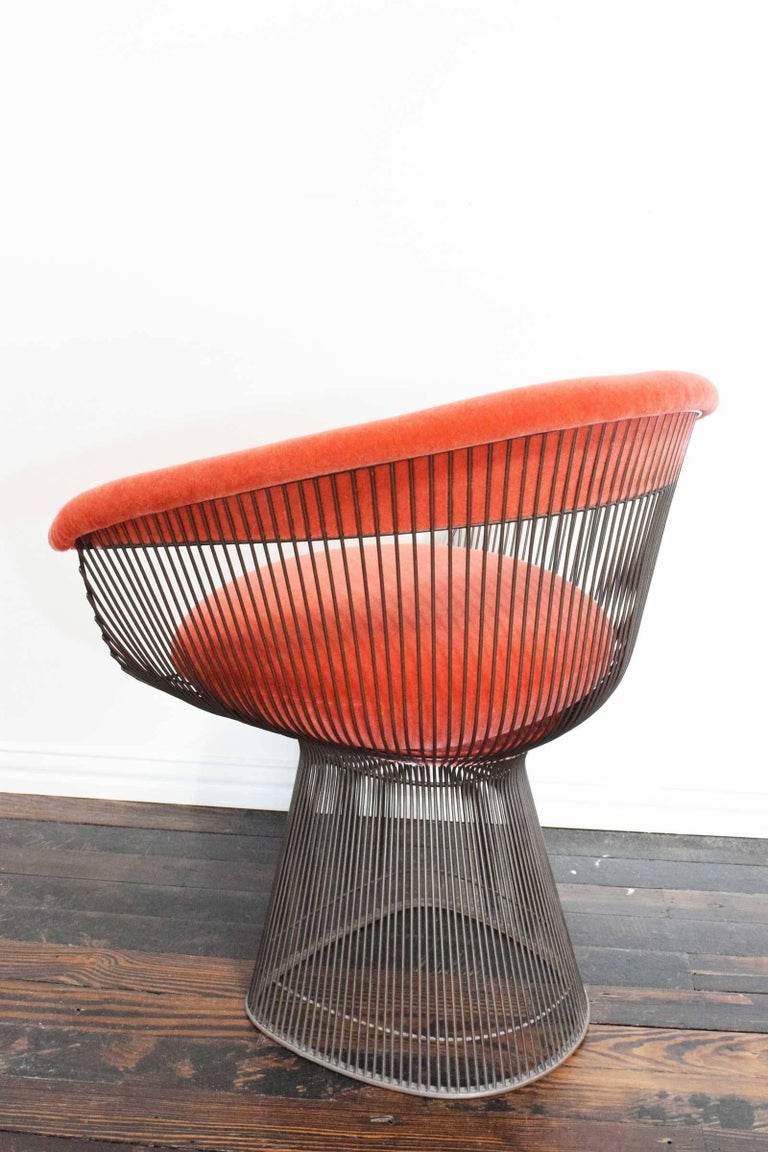 20th Century Set of Four Warren Platner Bronze Dining Chairs For Sale