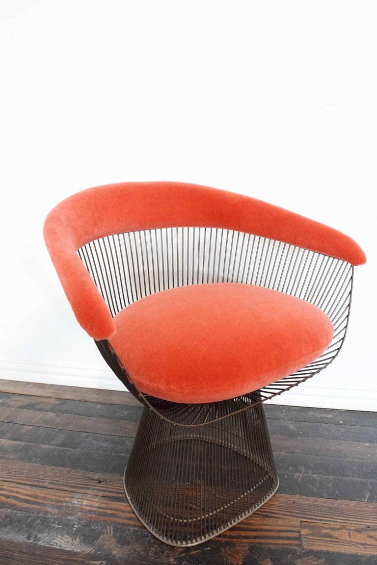 Set of Four Warren Platner Bronze Dining Chairs For Sale 1