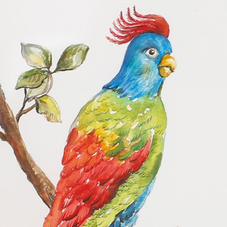 Set of Four Watercolor Paintings of Parrots For Sale 4