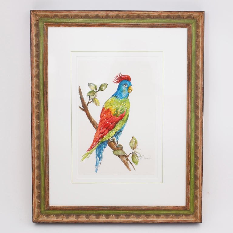 Set of Four Watercolor Paintings of Parrots For Sale 6
