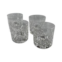 Set of Four Old Fashioned Cut Crystal Glasses by Waterford in Pattern Lismore