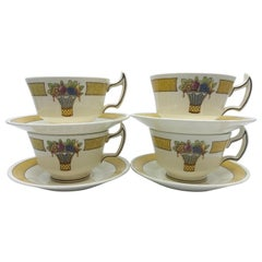 Set of Four Wedgwood Directoire Yellow Banded Creamware Cups and Saucers