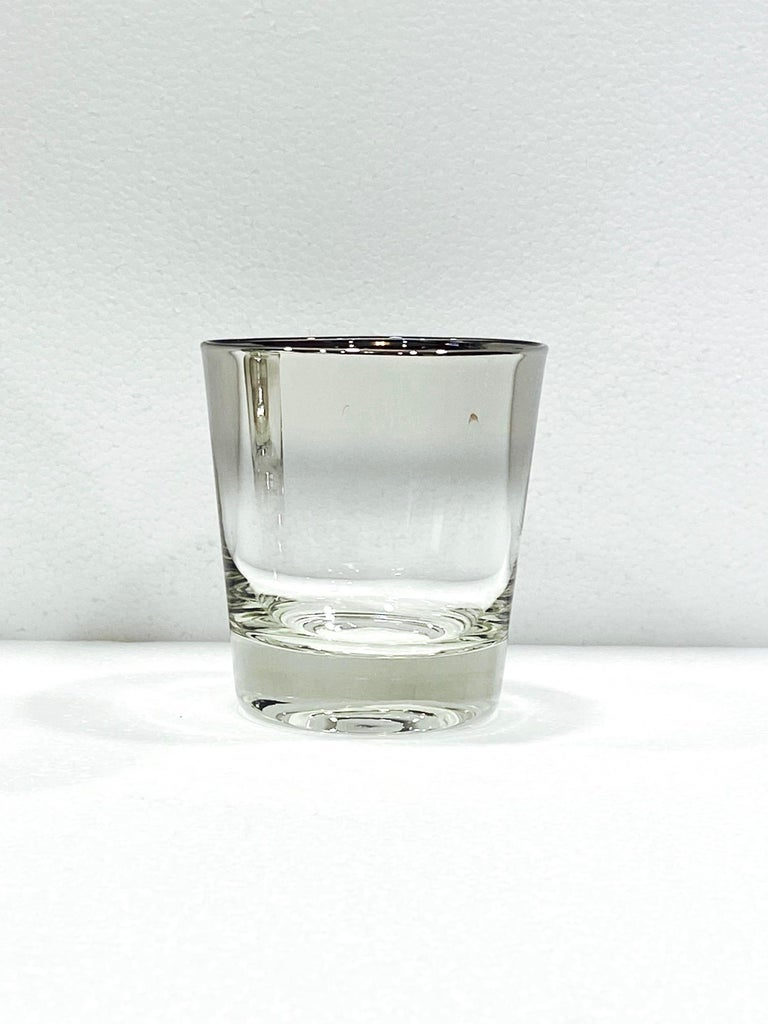 Blown Glass Set of Four Whiskey Glasses with Silver Overlay by Dorothy Thorpe, circa 1960s