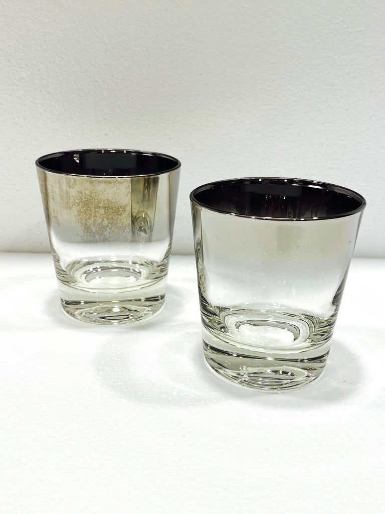 Set of Four Whiskey Glasses with Silver Overlay by Dorothy Thorpe, circa 1960s 2