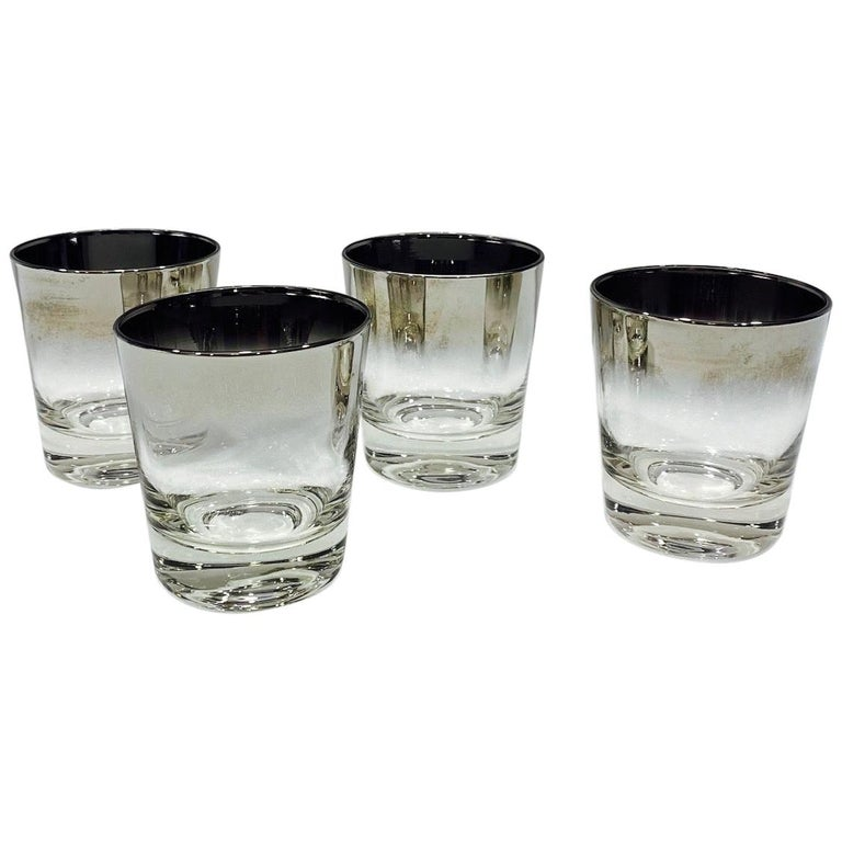 Set of Four Whiskey Glasses with Silver Overlay by Dorothy Thorpe, circa 1960s