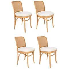 Set of Four White Boucle Thonet Wood Rattan Chairs, 1960s