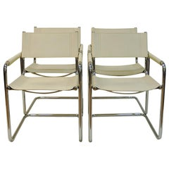 Set of Four White Leather Armchairs 1970s-1980s by Linea Veam, Cantilever, Italy