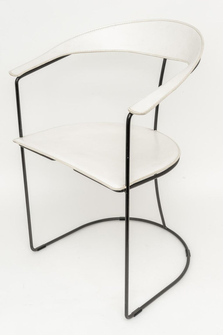 Modern Set of Four White Leather Dining Chairs by Arrben For Sale