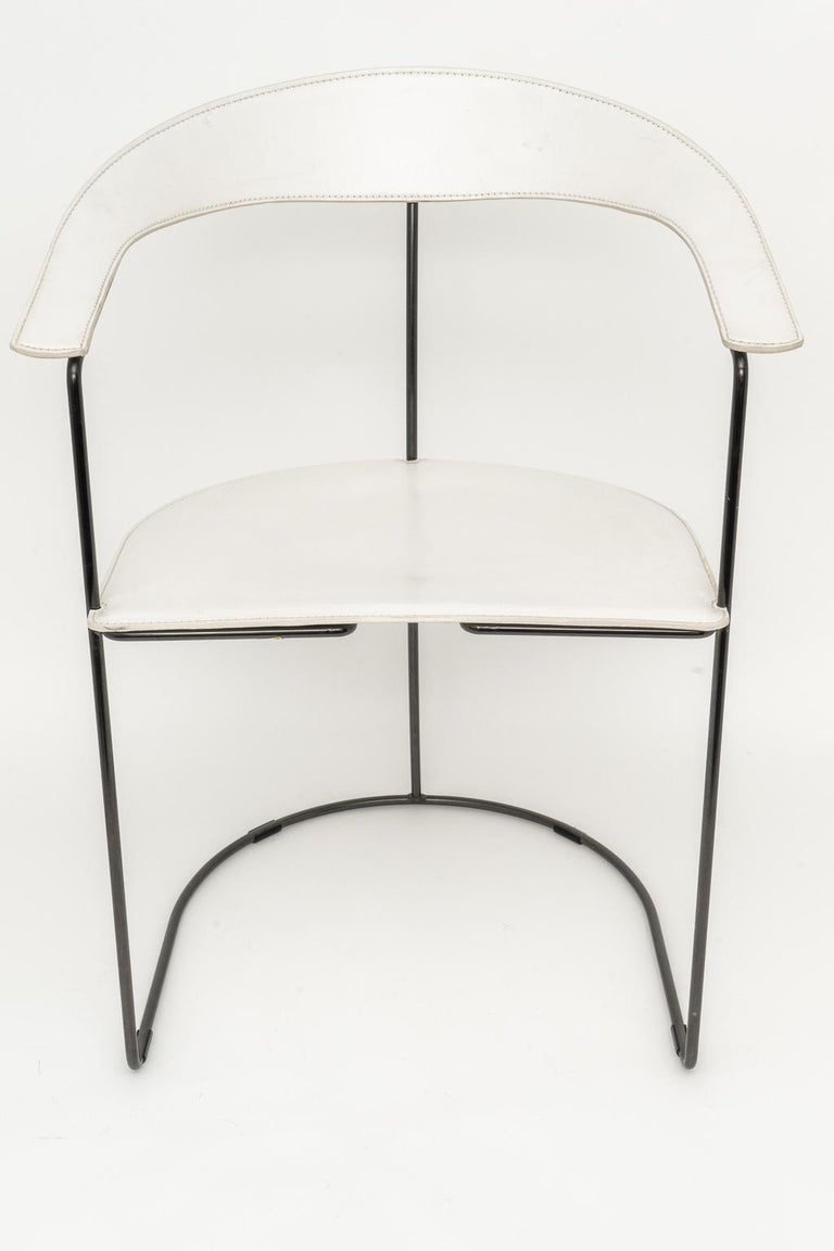 Italian Set of Four White Leather Dining Chairs by Arrben For Sale