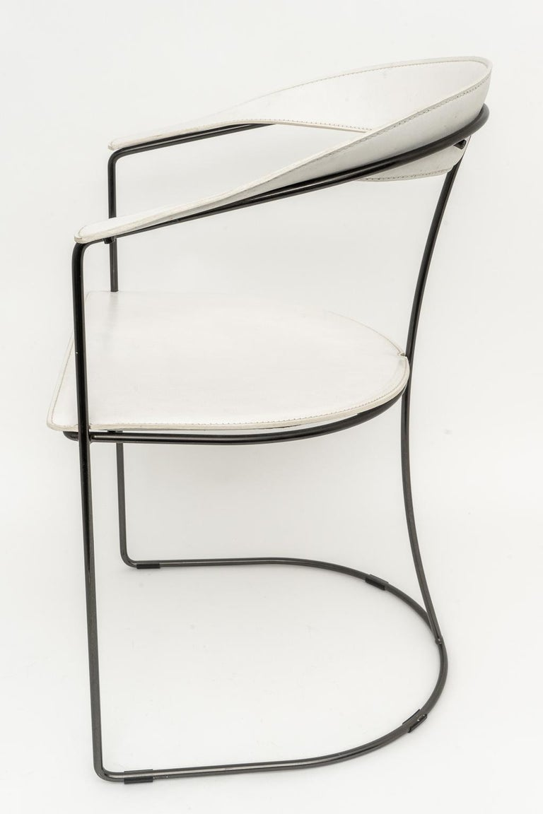 Hand-Crafted Set of Four White Leather Dining Chairs by Arrben For Sale