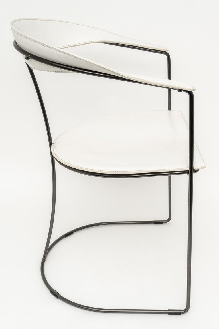 20th Century Set of Four White Leather Dining Chairs by Arrben For Sale