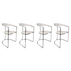 Set of Four White Leather Dining Chairs by Arrben