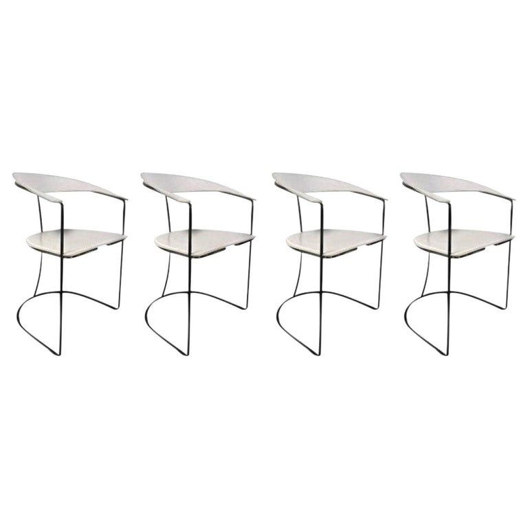 Set of Four White Leather Dining Chairs by Arrben For Sale