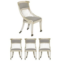 Set of Four White Painted Gray Upholstered Dining Chairs in Gustavian Style