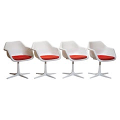 Set of Four White Swivel Chair by Robin Day for Hille, France, 1960