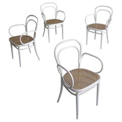 Set of Four White Thonet nr. 14 Armchairs with Wicker Seats, Vienna, 1960s