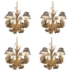 Set of Four White Tole Six Arm-Chandeliers Attributed to McGuire