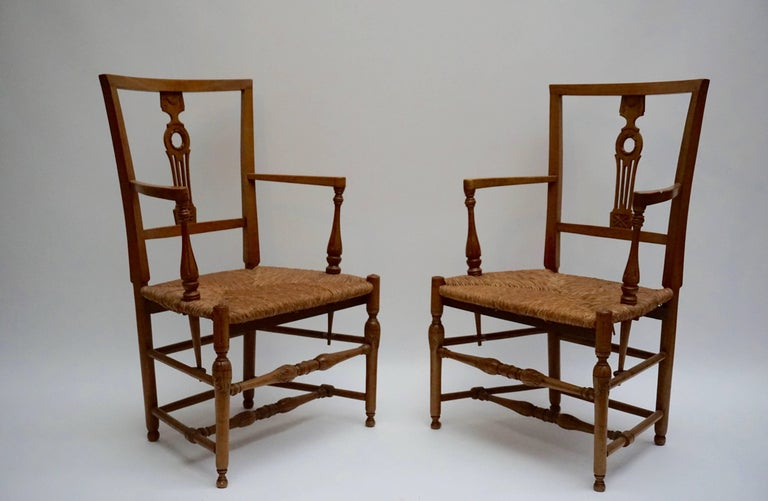 Mid-Century Modern Set of Four Wicker Armchairs For Sale