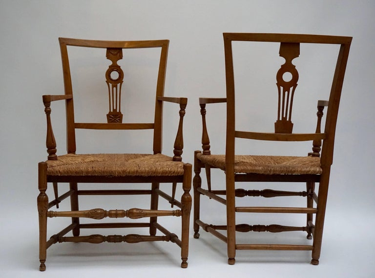 Set of Four Wicker Armchairs For Sale 2