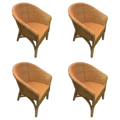 Set of Four Wicker Dining Chairs, Contemporary