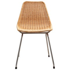 Set of Four Wicker Shell Chairs and Metal Crome Frame by Dirk Van Sliedrecht