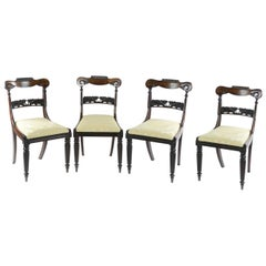 Set of Four William IV Rosewood Library Chairs Attributed to Gillows