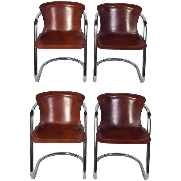 Set of Four Willy Rizzo Dining Chairs in Cognac Leather