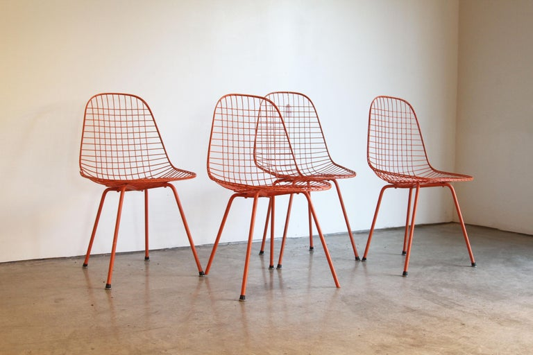 Set of Four Wire Chair DKX 5 by Ray & Charles Eames Designed in 1951 For Sale 11