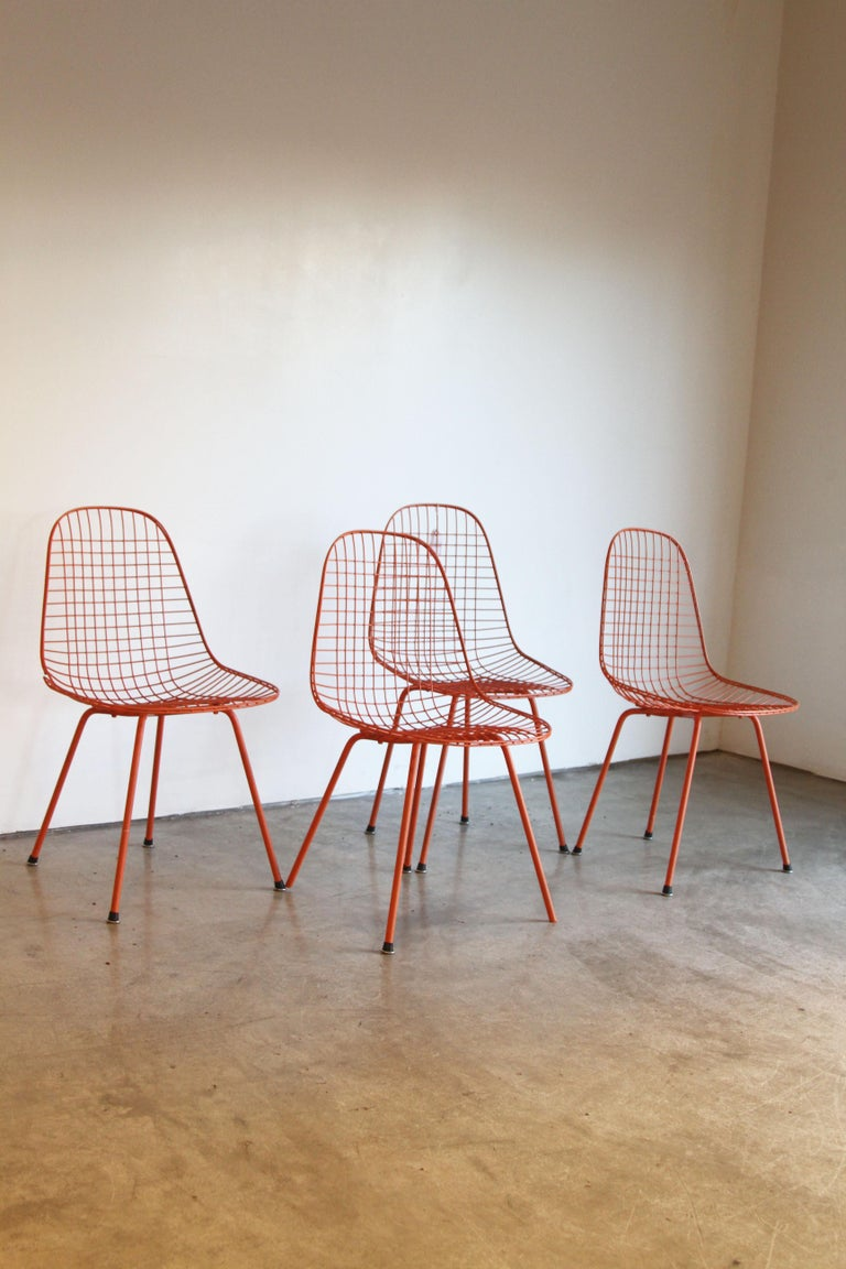 Set of Four Wire Chair DKX 5 by Ray & Charles Eames Designed in 1951 For Sale 12