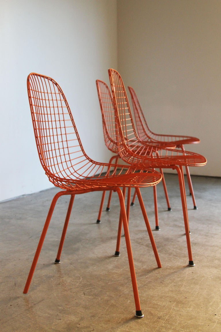 North American Set of Four Wire Chair DKX 5 by Ray & Charles Eames Designed in 1951 For Sale