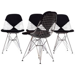 Set of Four Wire Dining Chairs by Eames for Herman Miller Model DKR, 1960s