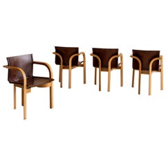 Set of Four Wood and Leather Chairs