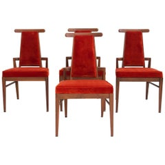 Set of Four Wood and Velvet Chairs by James Mont