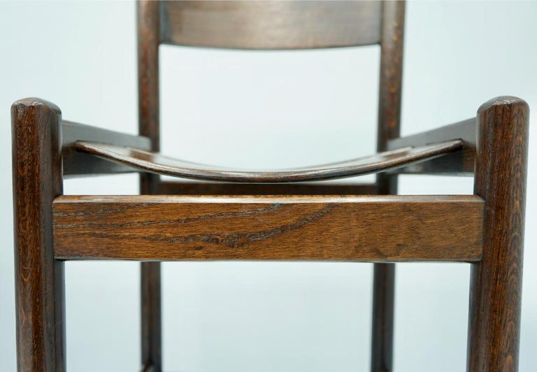 Mid-Century Modern Set of Four Wood Bar Stools, 1970s For Sale